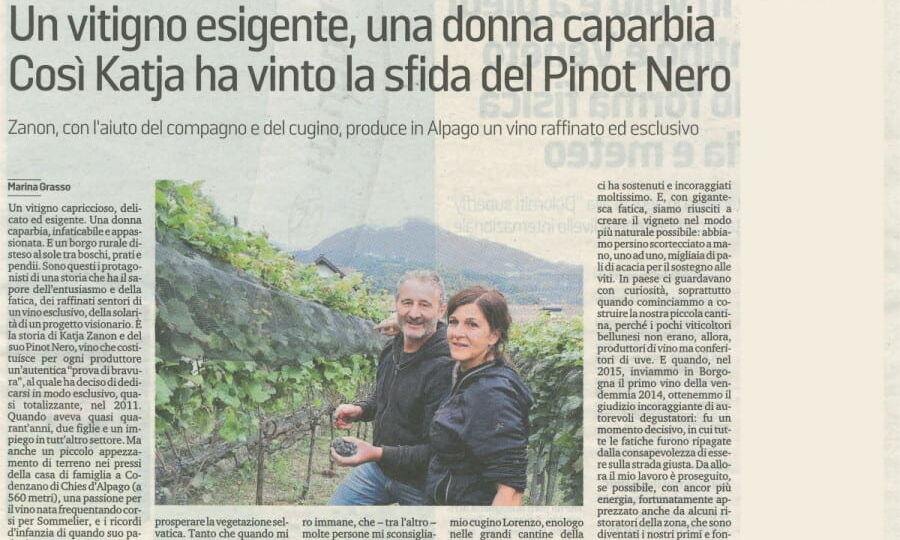 Articolo su valdepol Corriere delle Alpi 27/7/2020 - sez. Gusto