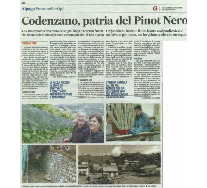 Il Gazzettino 12-11-2019 - Codenzano Patria del Pinot Nero